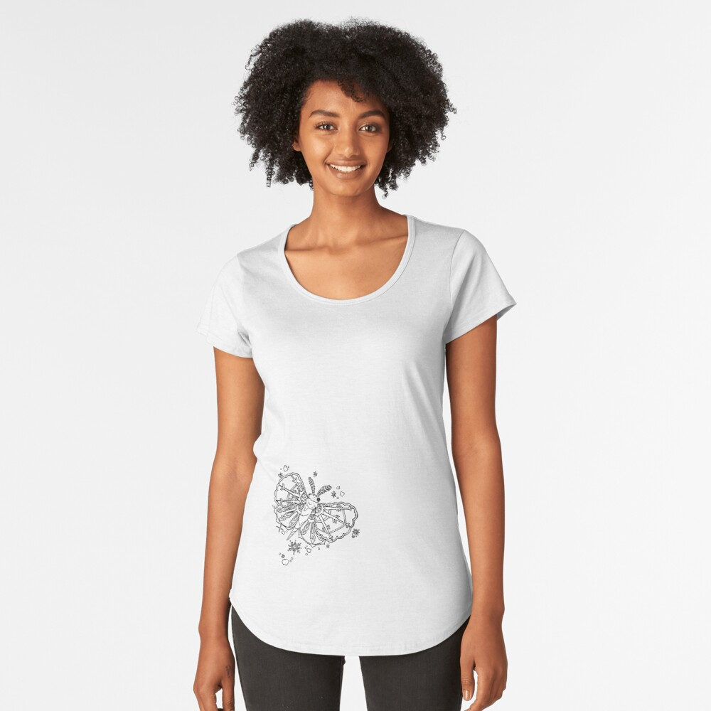 Abominable Snow Moth: Winter Snowflake Flight Premium Scoop T-Shirt