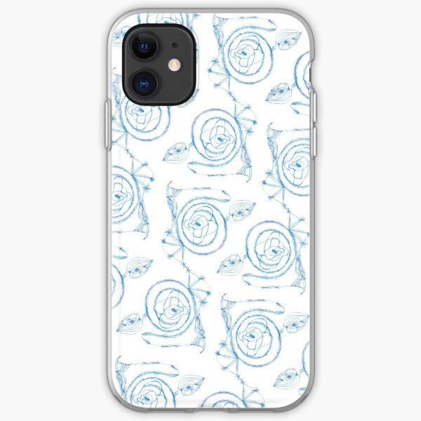 Blue Spirals on White iPhone Soft Case