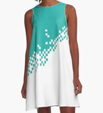 The 8-Bit Pixel Fashion Pattern Petrol Weiss A-Linien Kleid