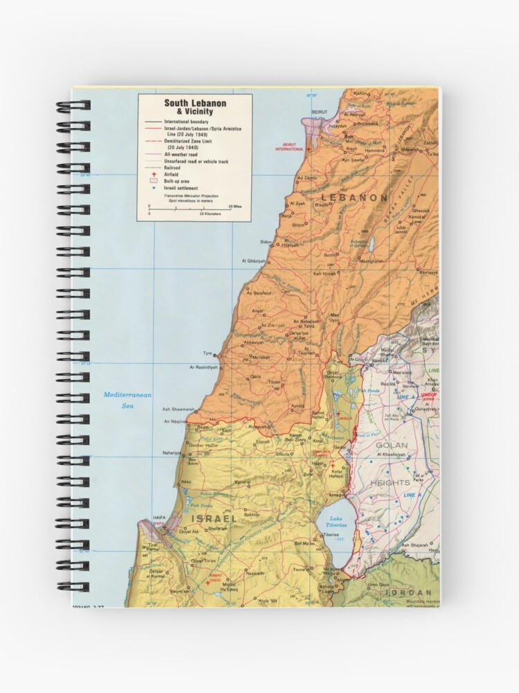 Lebanon Israel Syria Golan Heights CIA Central Intelligence Agency Map NB