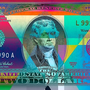 Obverse of a Colorized Two U. S. Dollar Bill  by Captain7