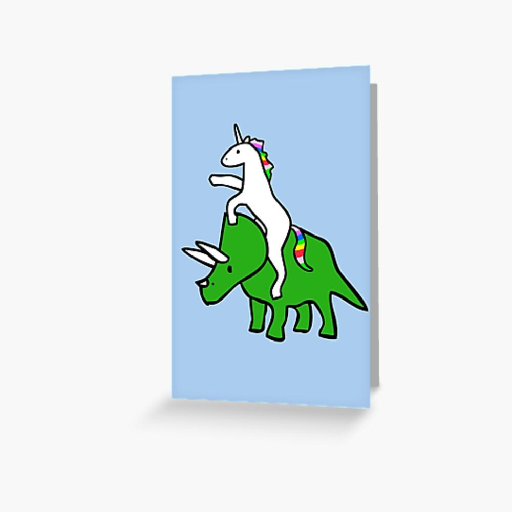Unicorn Riding Triceratops Greeting Card