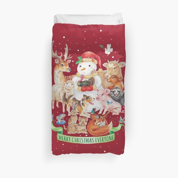 Merry vegan christmas by Maria Tiqwah Duvet Cover