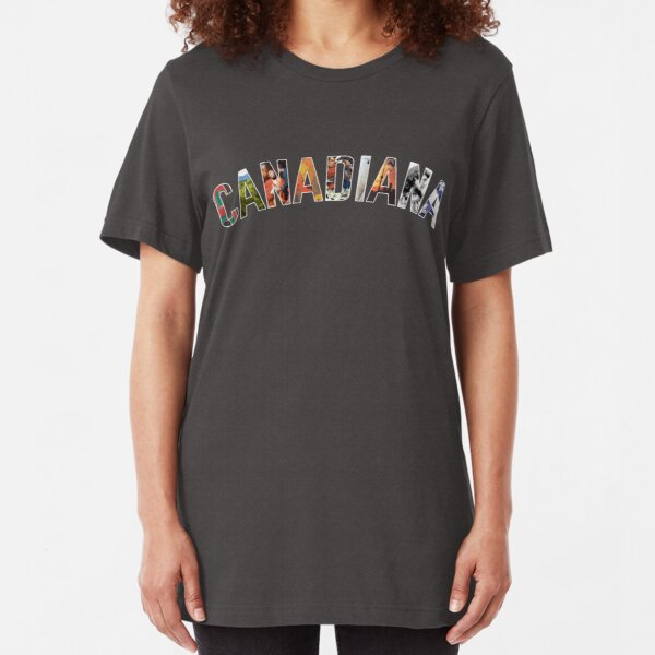 Canadiana Curved Text Logo Slim Fit T-Shirt