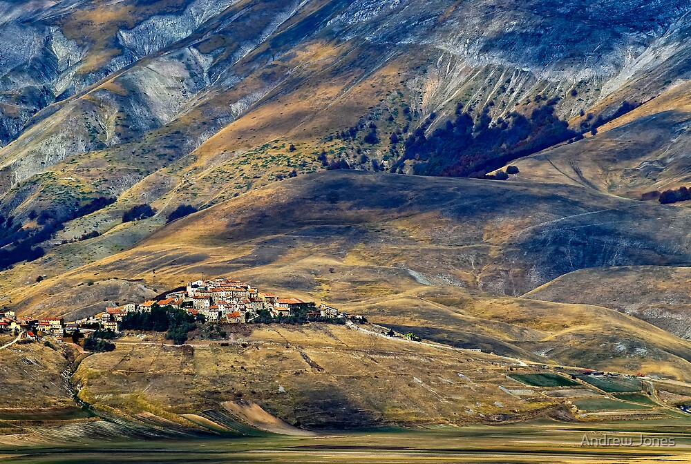 Castelluccio village, Piano Grande, Umbria, Italy by Andrew Jones