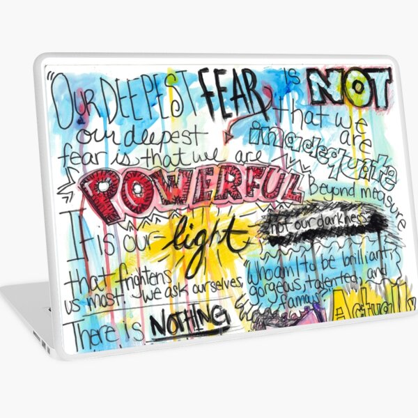 """Marianne Williamson Quote - """"Our deepest fear is not that we are inadequate"""" Laptop Skin"""