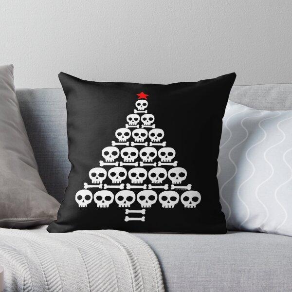 White Skull and Bones Christmas Tree  Throw Pillow