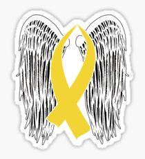 Winged Awareness Ribbon (Gold Ribbon)  Sticker