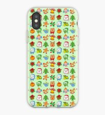 Christmas characters and ormanents in a colorful pattern iPhone Case