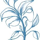 Blue Flower on White by plumecloth