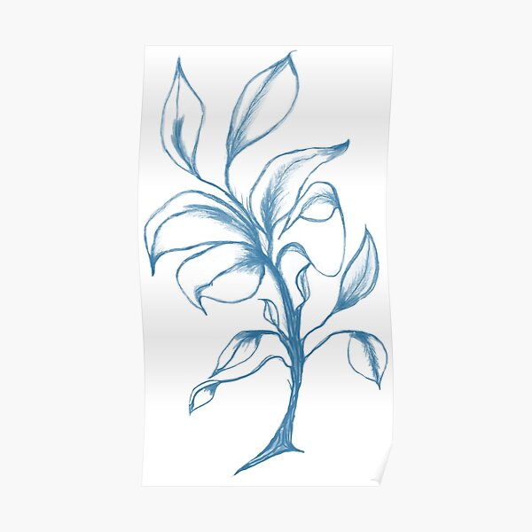 Blue Flower on White Poster