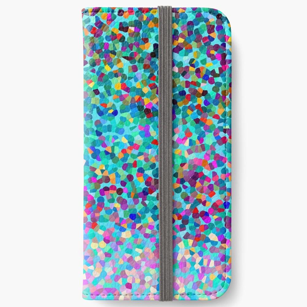 Aqua Blue Mehrfarbige Abstrakte Kunst Formt Muster iPhone Flip-Case
