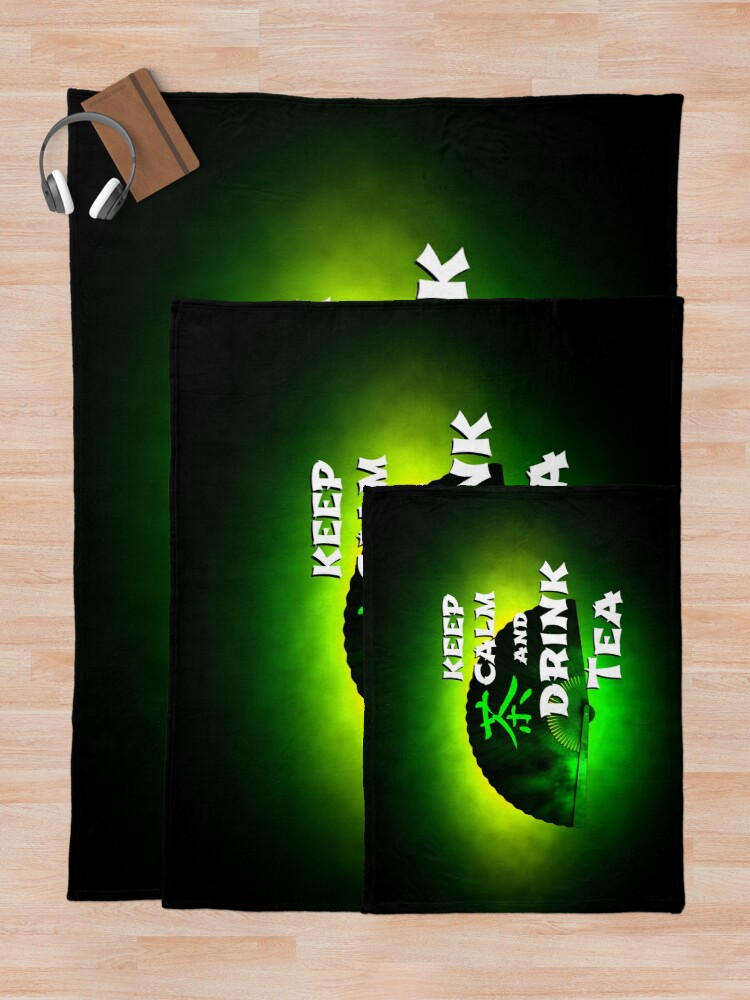 Alternate view of Keep Calm And Drink Tea - green tea Throw Blanket