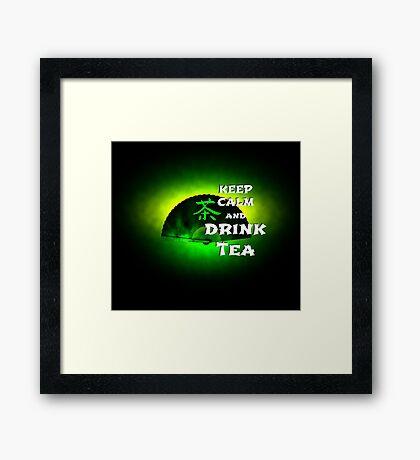 Keep Calm And Drink Tea - green tea Framed Print