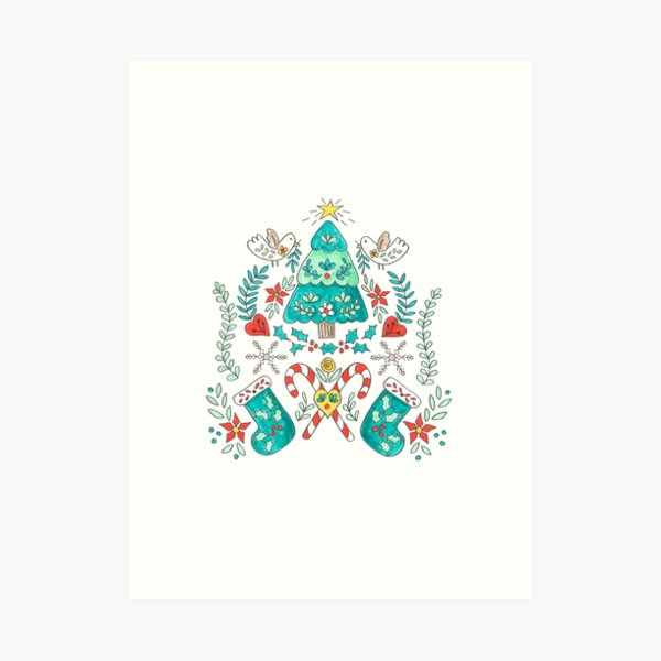 Folk Christmas Tree Art Print