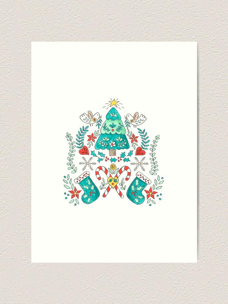 Alternate view of Folk Christmas Tree Art Print