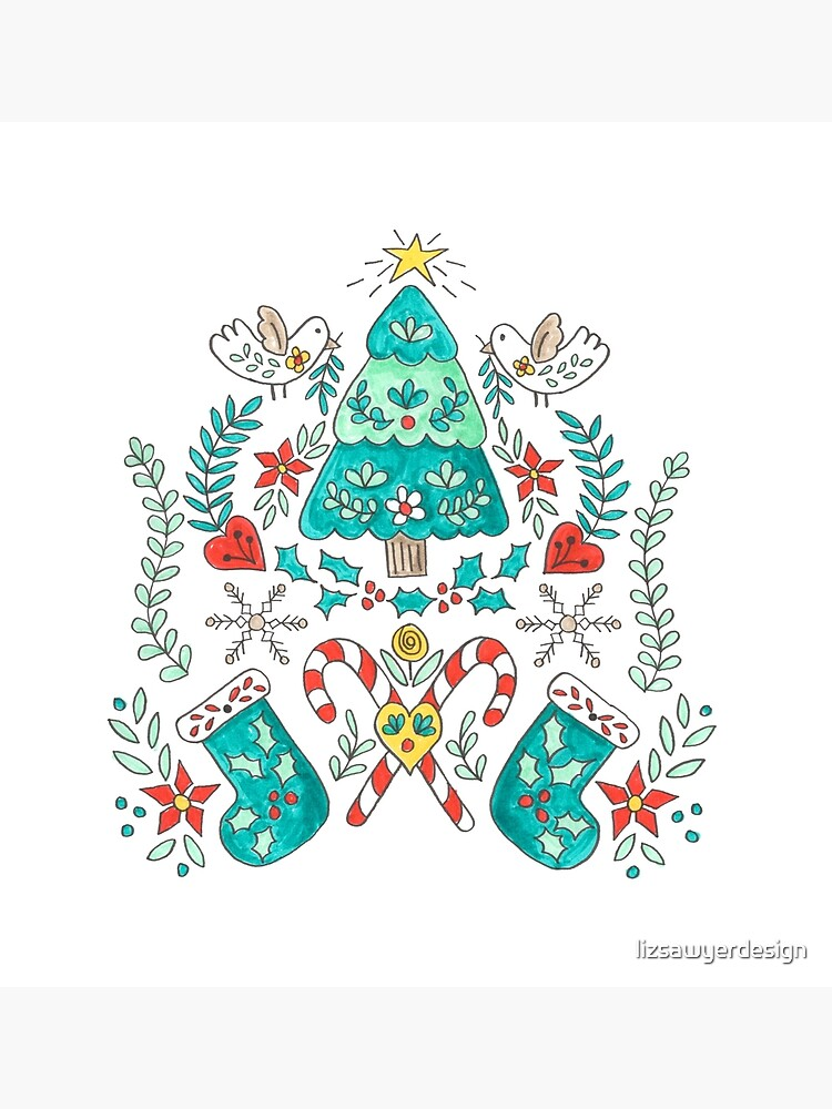 Folk Christmas Tree by lizsawyerdesign