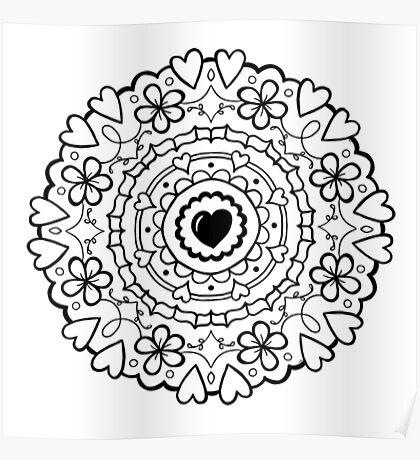 Just Add Colour - Mandala Love Poster