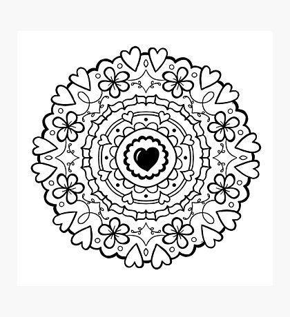 Just Add Colour - Mandala Love Photographic Print
