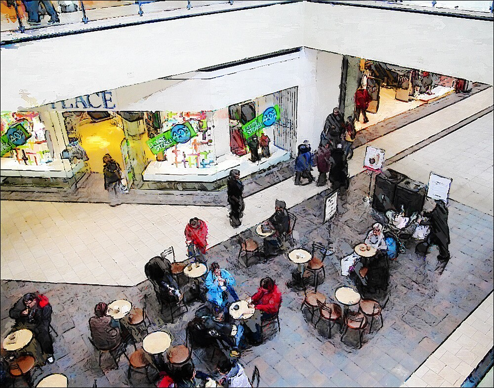 Coffee at the Mall - Hamilton Ontario Canada by David Buckle