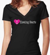 I Heart Bleeding Hearts | Love Bleeding Hearts - Dicentra Women's Fitted V-Neck T-Shirt
