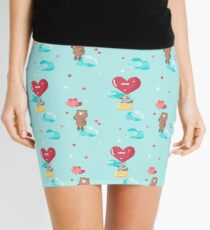 Cute bear and raccoon in love flying on heart shaped hot air balloon and balloons Mini Skirt