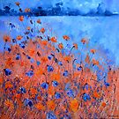 Orange and blue field flowers by calimero