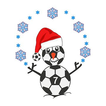 Snowman as a soccer player with Santa hat by Sal71