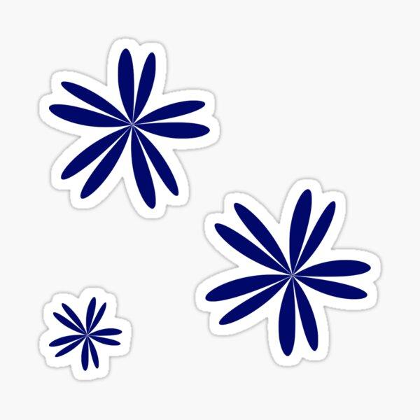 Navy Blue Floral Pattern Sticker