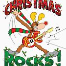 CHRISTMAS ROCKS with Cartoon Reindeer Youth Apparel by MartyToons
