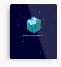 Minecraft Cube World Metal Print
