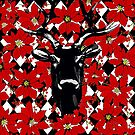 REINDEER AND POINSETTIAS HARLEQUIN VISIONS by Saundra Myles