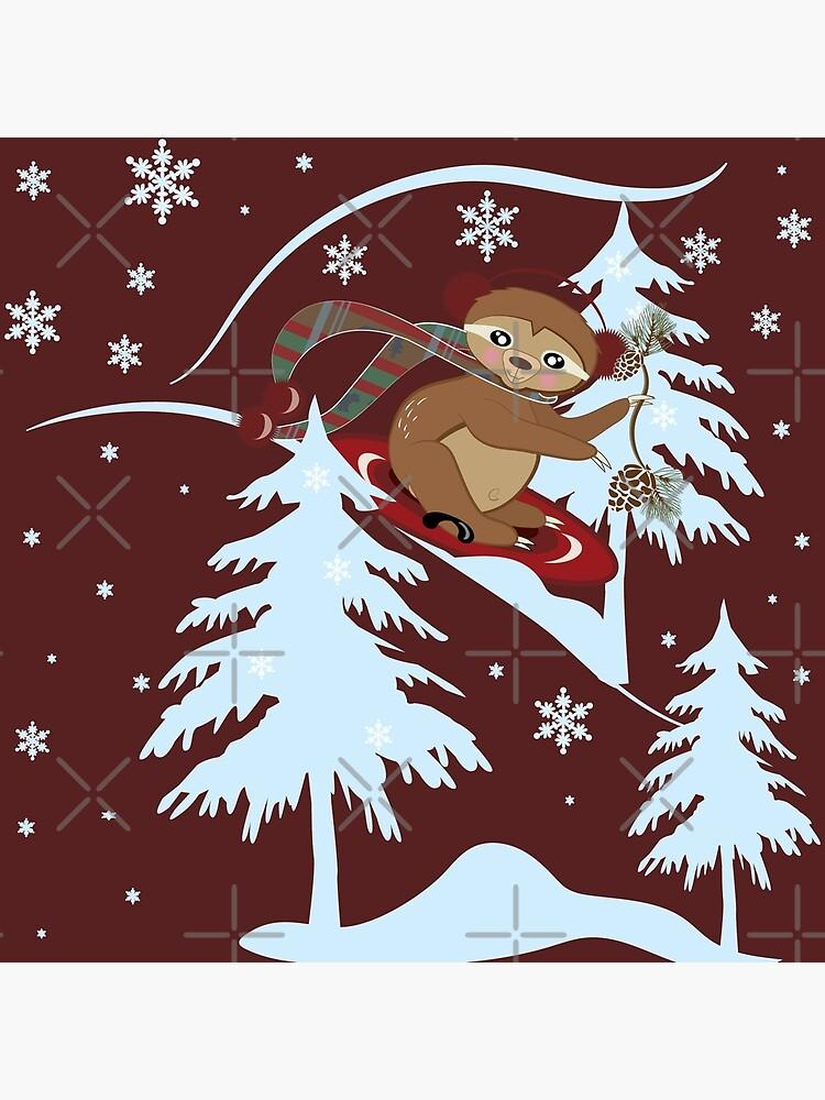 Winter Sloth Sledding by CreativeContour