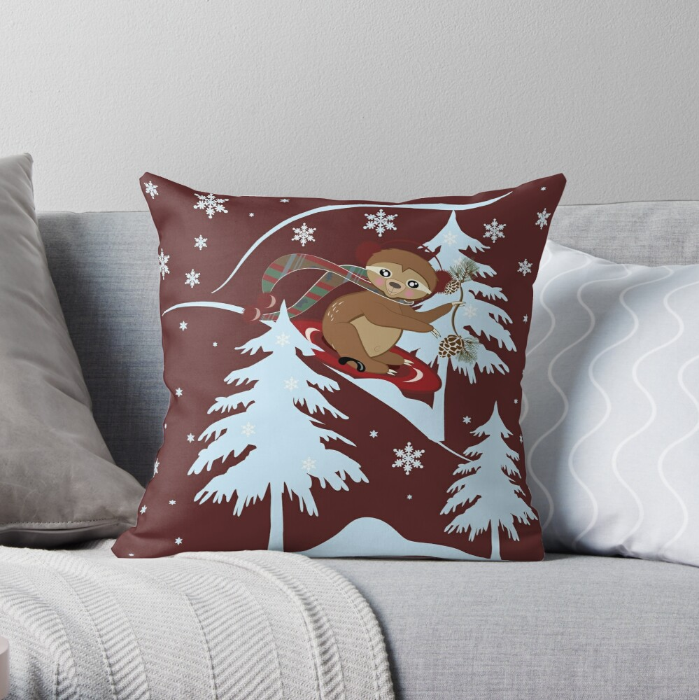 Winter Sloth Sledding Throw Pillow