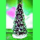 Christmas Tree White and Green Theme and a Pink Heart by Joe Lach
