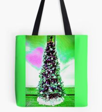 Christmas Tree White and Green Theme and a Pink Heart Tote Bag