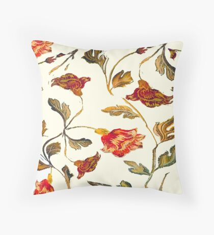 floral pattern on cream Throw Pillow