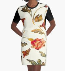 floral pattern on cream Graphic T-Shirt Dress
