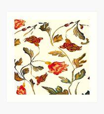 floral pattern on cream Art Print