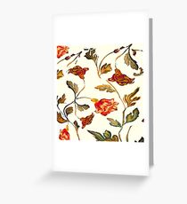 floral pattern on cream Greeting Card