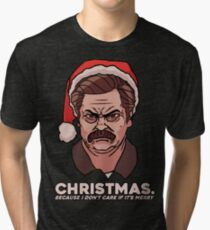 Ron Swanson Christmas Tri-blend T-Shirt