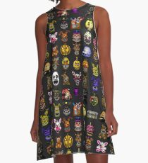 Five Nights at Freddy's - Pixel art - Multiple Characters New Set A-Line Dress
