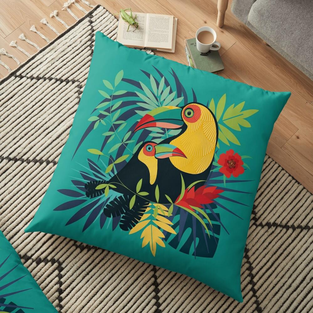 Coussin de sol «Toucan Tropical»