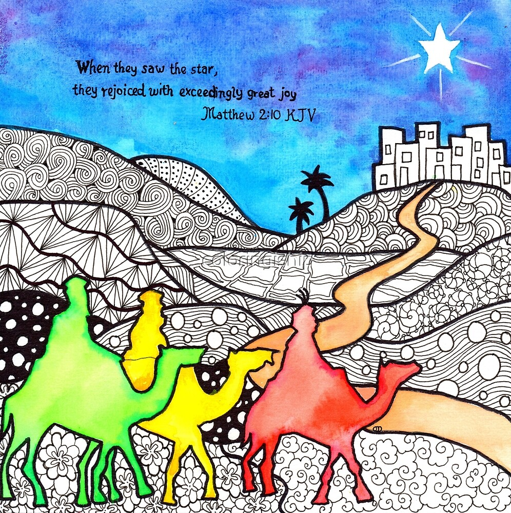 Watercolor Doodle Art   Three Wise Men by coloringiship