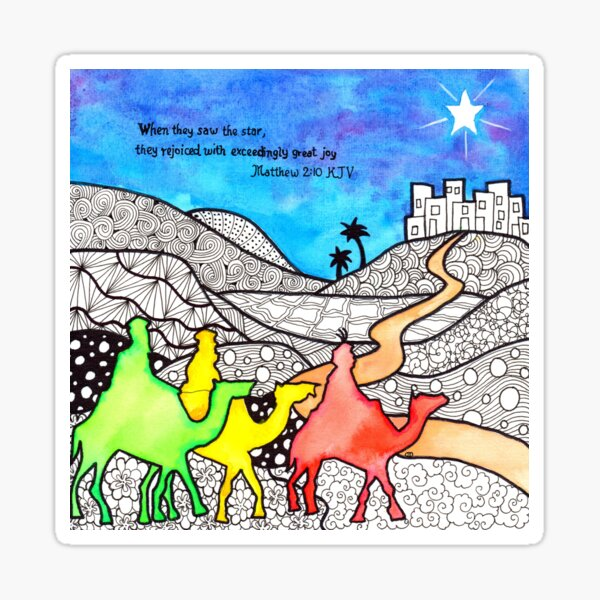 Watercolor Doodle | Three Wise Men Sticker