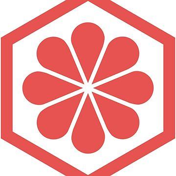 Geometric Pattern: Hexagon Flower: Red/White by redwolfoz