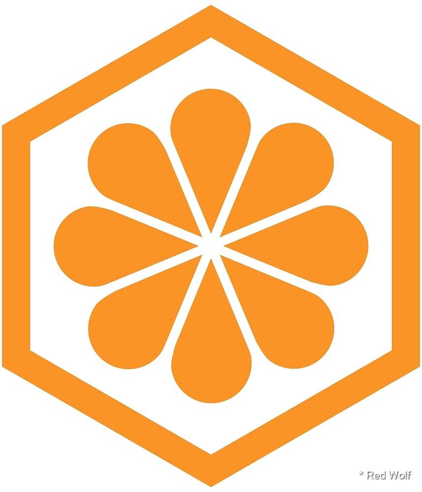 « Motif géométrique: hexagone fleur: orange / blanc » par * Red Wolf
