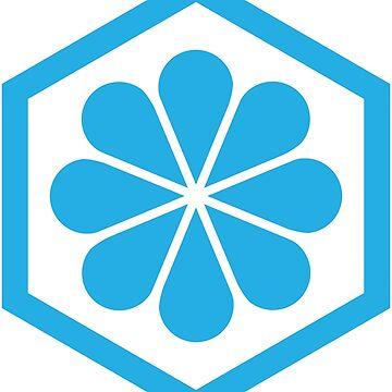 Geometric Pattern: Hexagon Flower: Blue/White by redwolfoz