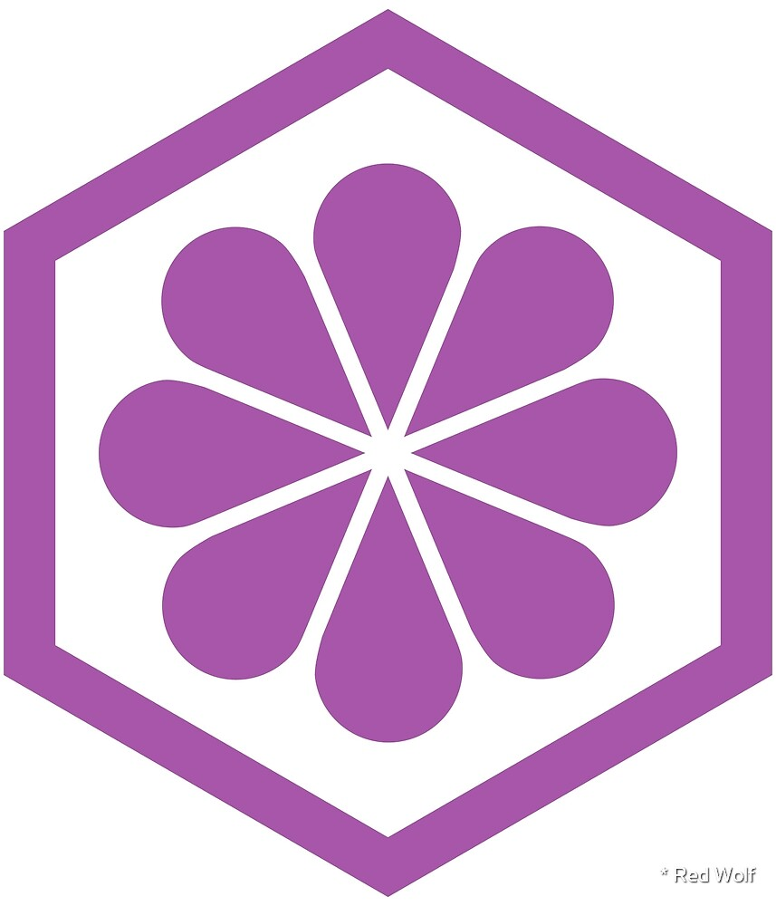Geometric Pattern: Hexagon Flower: Purple/White by * Red Wolf