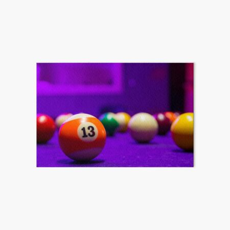 Billiard balls in a pool table Art Board Print